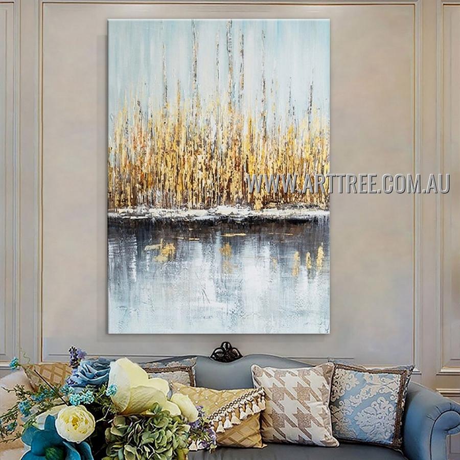 Motley Stripes Abstract Heavy Texture Artist Handmade Contemporary Art Painting for Room Drape