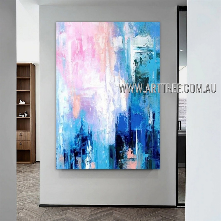 Multicolor Splashes Modern Heavy Texture Artist Handmade Abstract Art Painting for Room Ornament