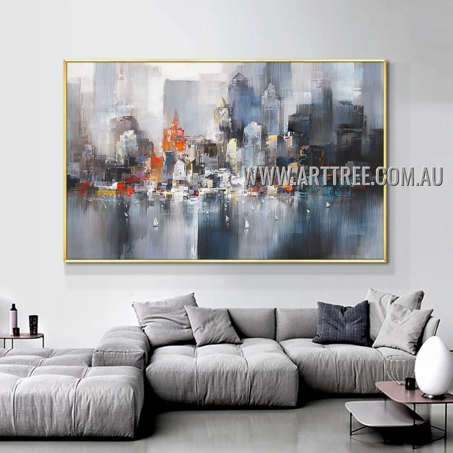 Abstract City Buildings Heavy Texture Artist Handmade Modern Artwork Painting for Room Spruce