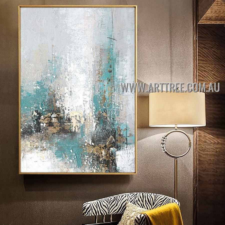 Colored Splashes Modern Heavy Texture Artist Handmade Abstract Wall Art Painting for Room Adornment