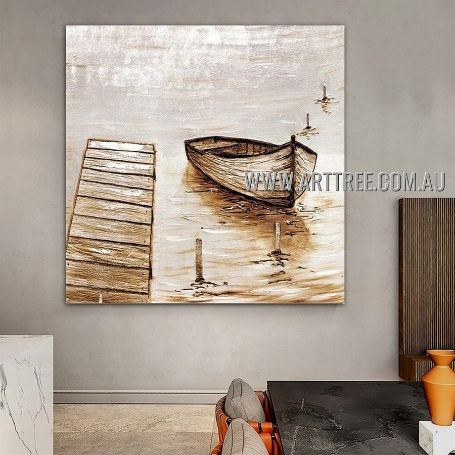 Rowboat Modern Seascape Heavy Texture Artist Handmade Abstract Wall Art Painting for Room Adorn