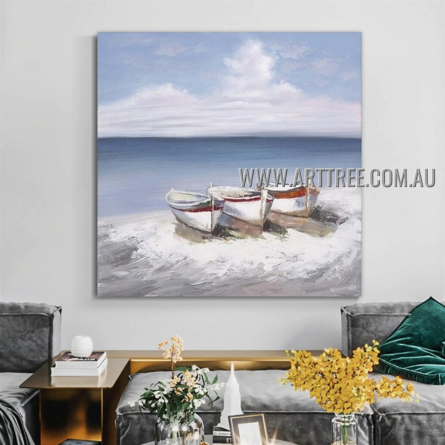 Boats Landscape Modern Heavy Texture Artist Handmade Abstract Art Painting for Room Adornment
