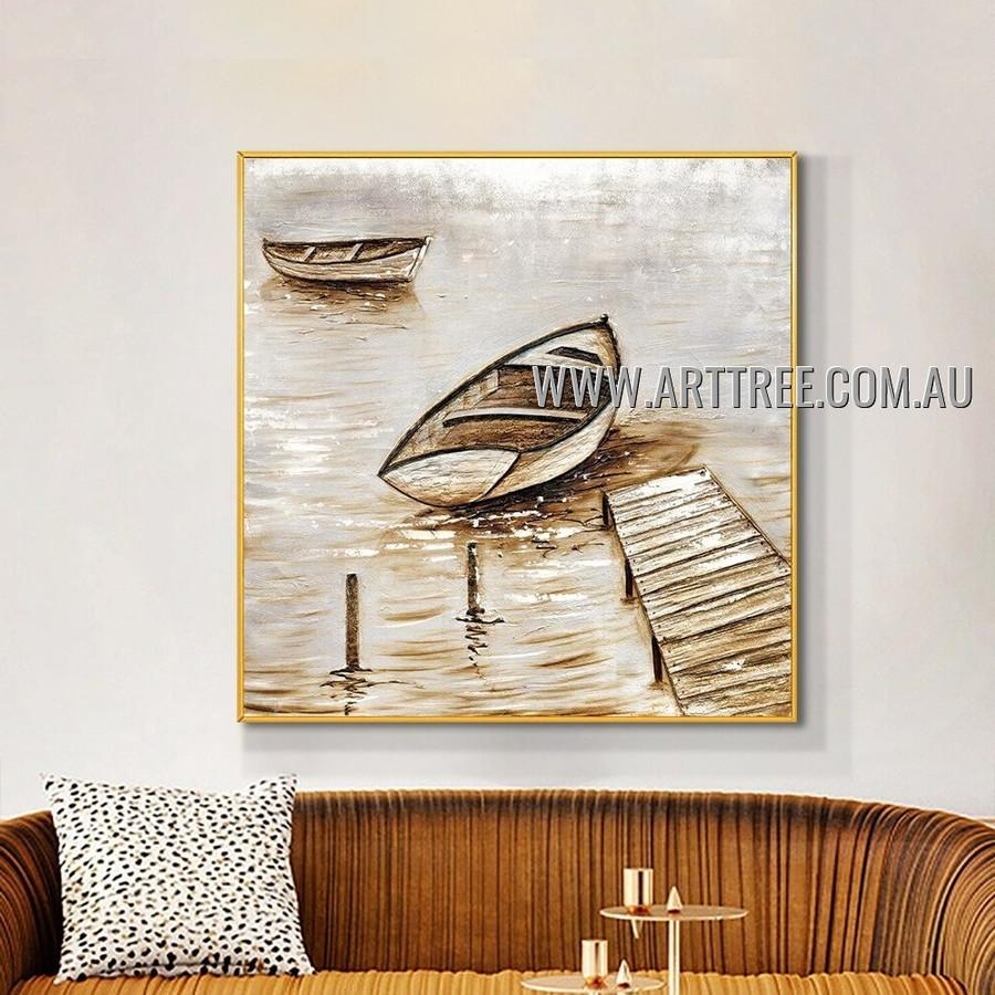 Longboats Abstract Seascape Heavy Texture Artist Handmade Modern Art Painting for Room Garniture