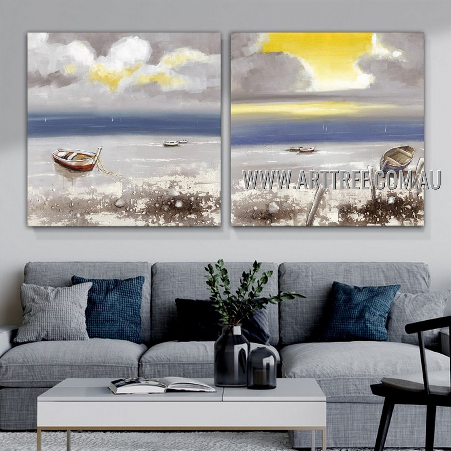 Beautiful Seascape Abstract Modern Heavy Texture Artist Handmade 2 Piece Split Panel Canvas Painting for Room Adornment