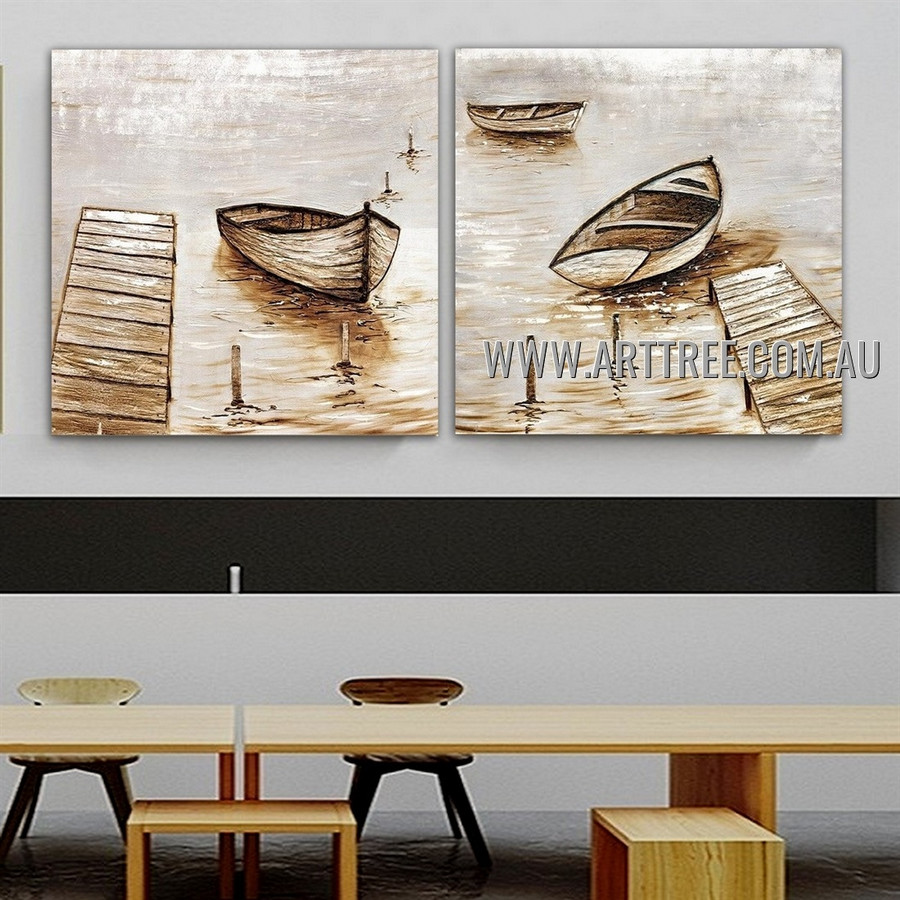 Bleak Boats Seascape Modern Abstract Heavy Texture Artist Handmade 2 Piece Multi Panel Wall Art Canvas Painting for Room Decoration