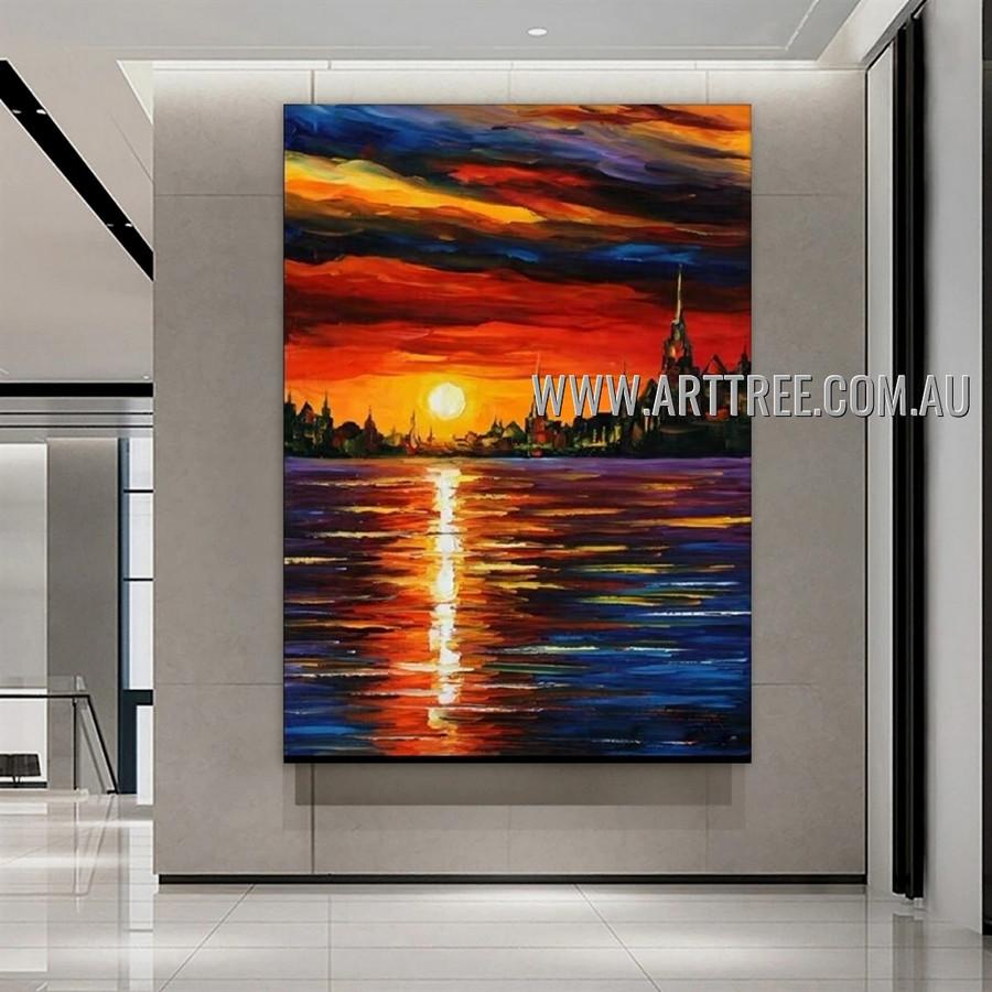Sunset Scenery Abstract Landscape Heavy Texture Artist Handmade Modern Wall Art Painting for Room Garnish