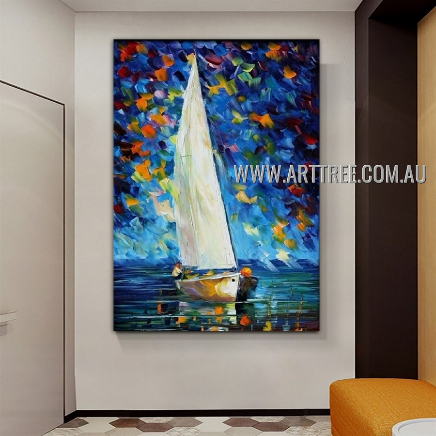 White Sail Seascape Modern Heavy Texture Artist Handmade Abstract Art Painting for Room Getup