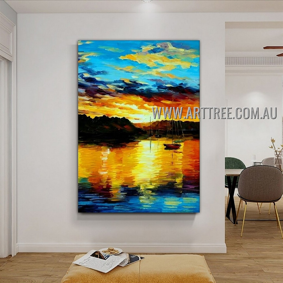 Sea and Dusk Abstract Landscape Heavy Texture Artist Handmade Modern Art Painting for Room Spruce