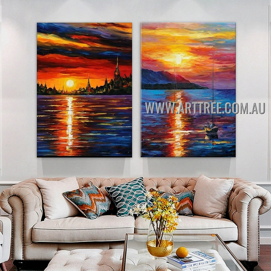 Beautiful Scenery Abstract Landscape Modern Heavy Texture Artist Handmade 2 Piece Multi Panel Canvas Painting for Room Adornment