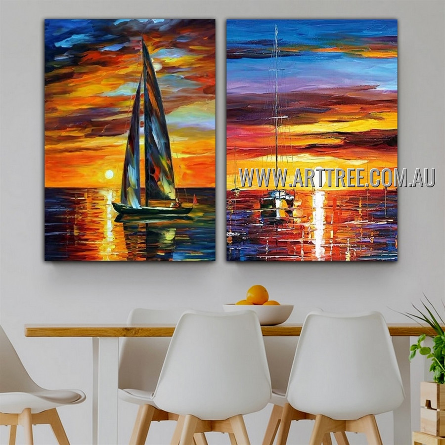 Sailing Sea Abstract Seascape Modern Heavy Texture Artist Handmade 2 Piece Multi Panel Canvas Painting Wall Art Set for Room Spruce