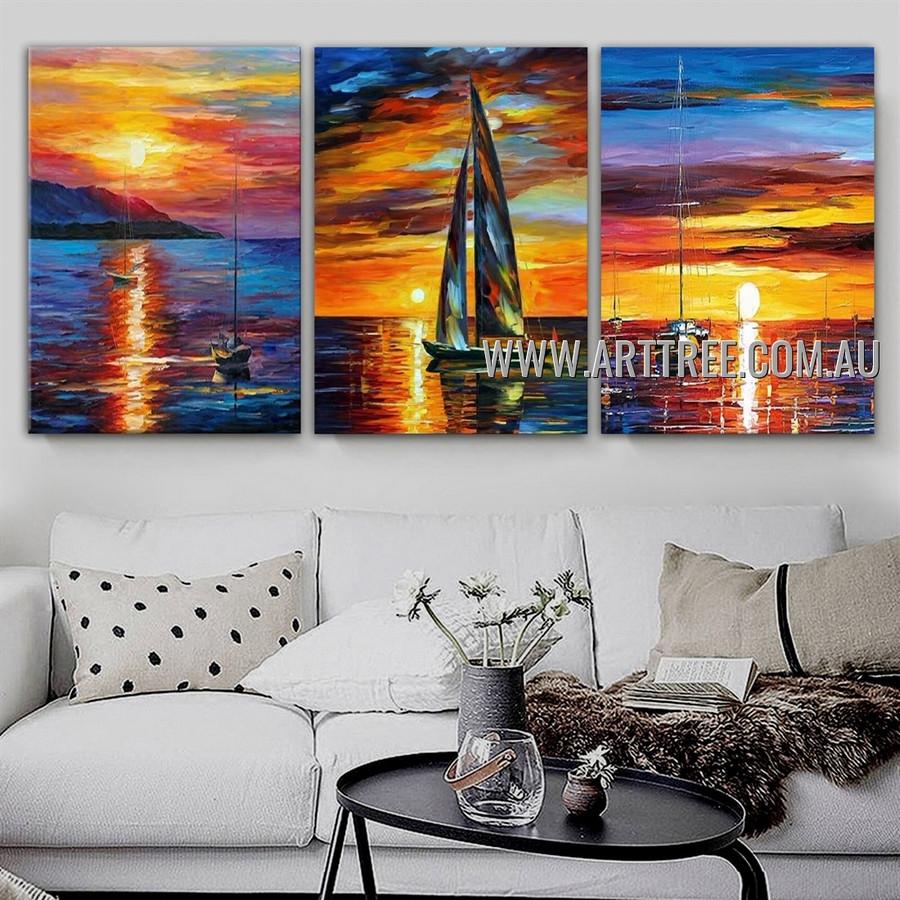 Sunset Scenery Seascape Abstract Modern Heavy Texture Artist Handmade 3 Piece Multi Panel Canvas Oil Painting Wall Art Set for Room Drape