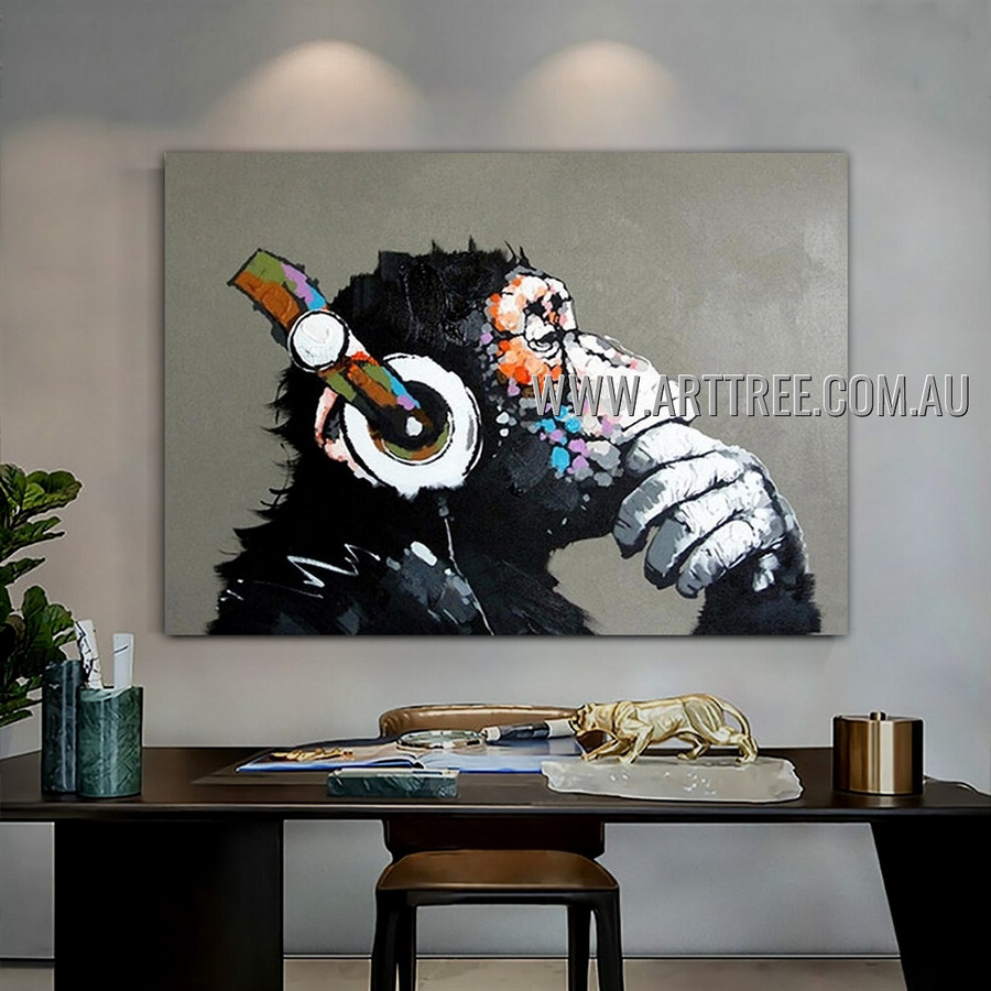 Monkey with Headphone Modern Heavy Texture Artist Handmade Animal Wall Art Painting for Room Flourish