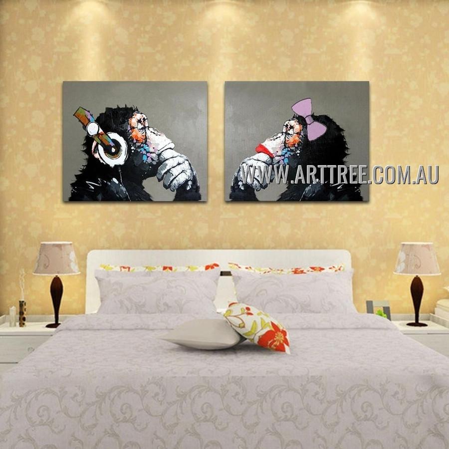Thinking Monkeys Modern Animal Artist Handmade Heavy Texture 2 Piece Multi Panel Canvas Painting Wall Art Set for Room Decoration