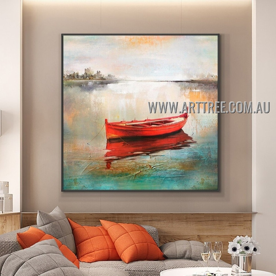 Red Boat Abstract Landscape Heavy Texture Artist Handmade Modern Wall Art Painting for Room Adorn
