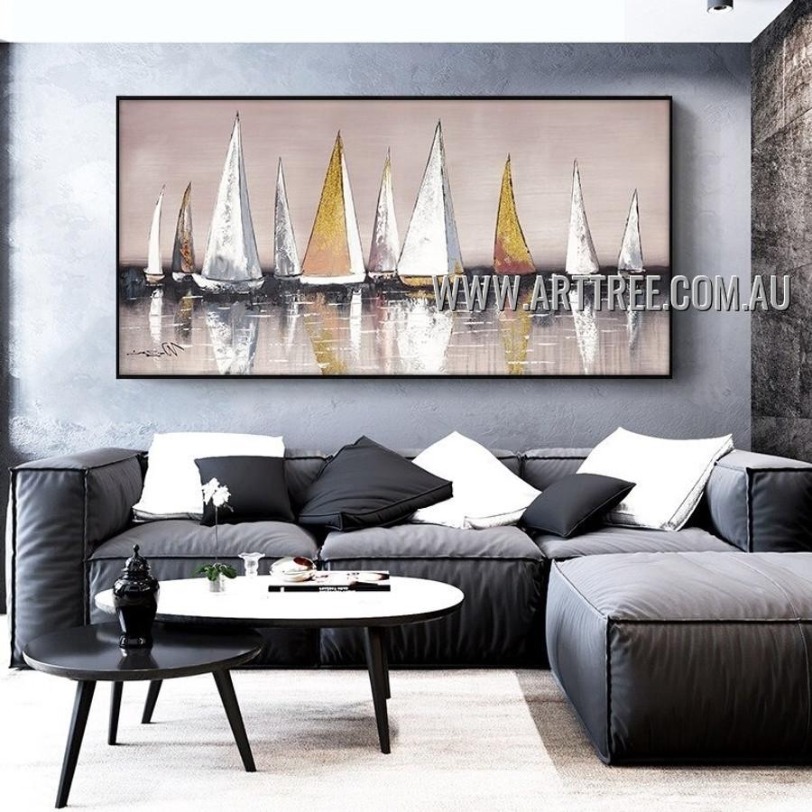 Sailing Vessel Abstract Seascape Heavy Texture Artist Handmade Modern Art Painting for Room Drape