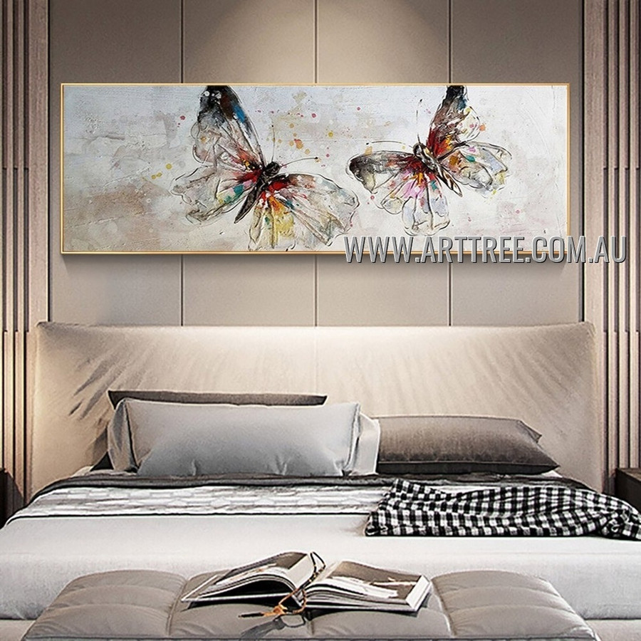 Chromatic Butterflies Abstract Modern Artist Handmade Heavy Texture Animal Wall Art Painting for Room Decor