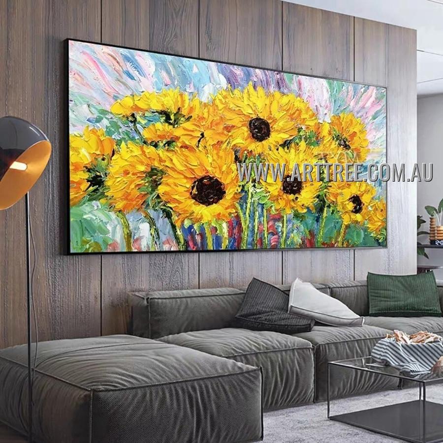 Sunflower Field Modern Floral Heavy Texture Artist Handmade Abstract Artwork Painting for Room Flourish