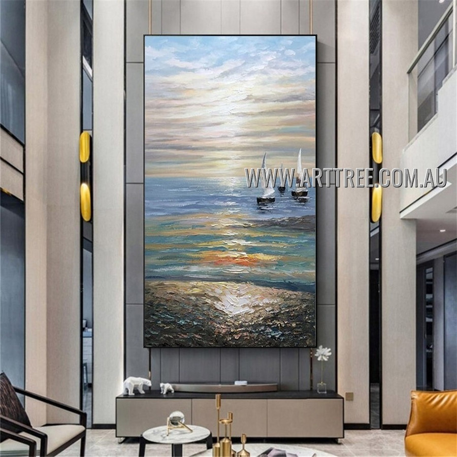 Sea Landscape Heavy Texture Artist Handmade Modern Wall Art Painting for Room Garniture