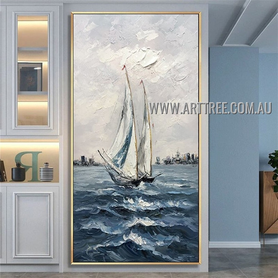 Sea Ripples Landscape Heavy Texture Artist Handmade Modern Art Painting for Room Outfit