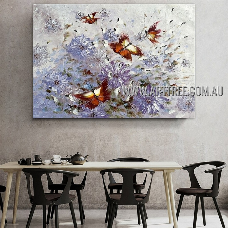 Particolored Painted Lady Modern Floral Artist Handmade Heavy Texture Animal Art Painting for Room Garnish