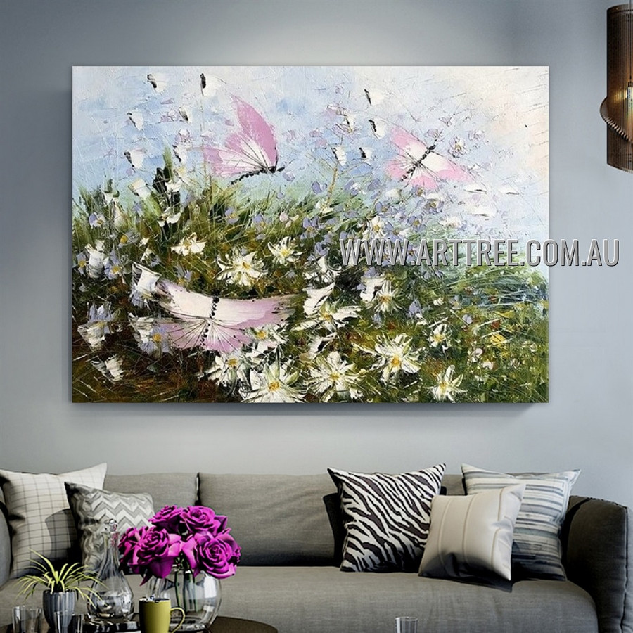 Varicolored Painted Lady Floral Animal Artist Handmade Heavy Texture Modern Art Painting for Room Adorn