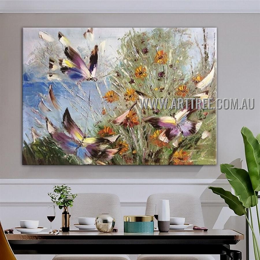 Multicolored Butterflies Floral Animal Artist Handmade Heavy Texture Modern Artwork Painting for Room Flourish