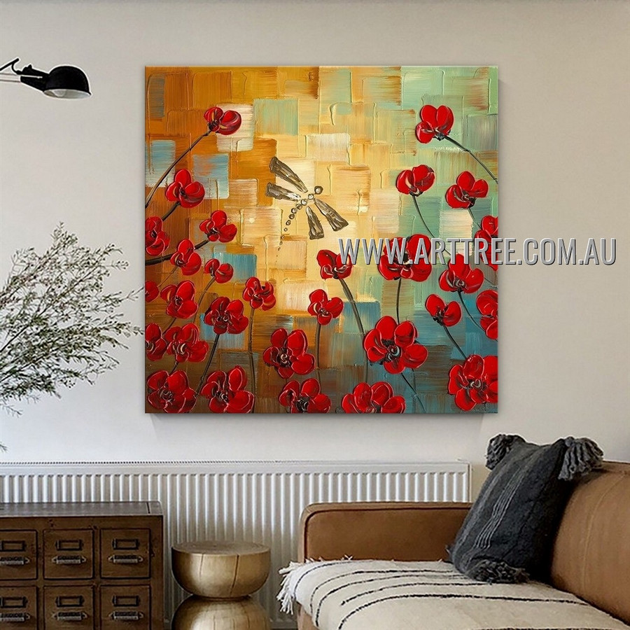 Dragonfly Floral Animal Artist Handmade Heavy Texture Modern Painting for Room Ornament
