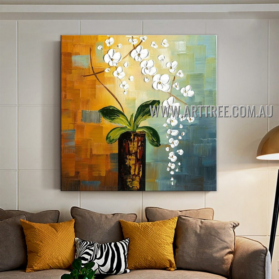 White Flowerpot Floral Modern Floral Artist Handmade Heavy Texture Abstract Art Painting for Room Finery