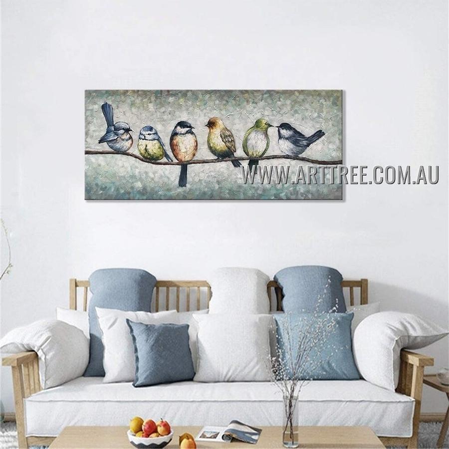 Birds Herd Abstract Heavy Texture Artist Handmade Contemporary Art Painting for Room Garniture
