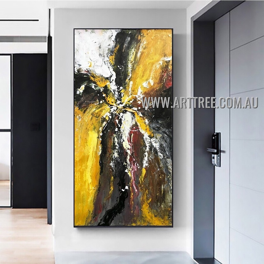 Varicolored Splotches Abstract Heavy Texture Artist Handmade Modern Wall Art Painting for Room Adorn