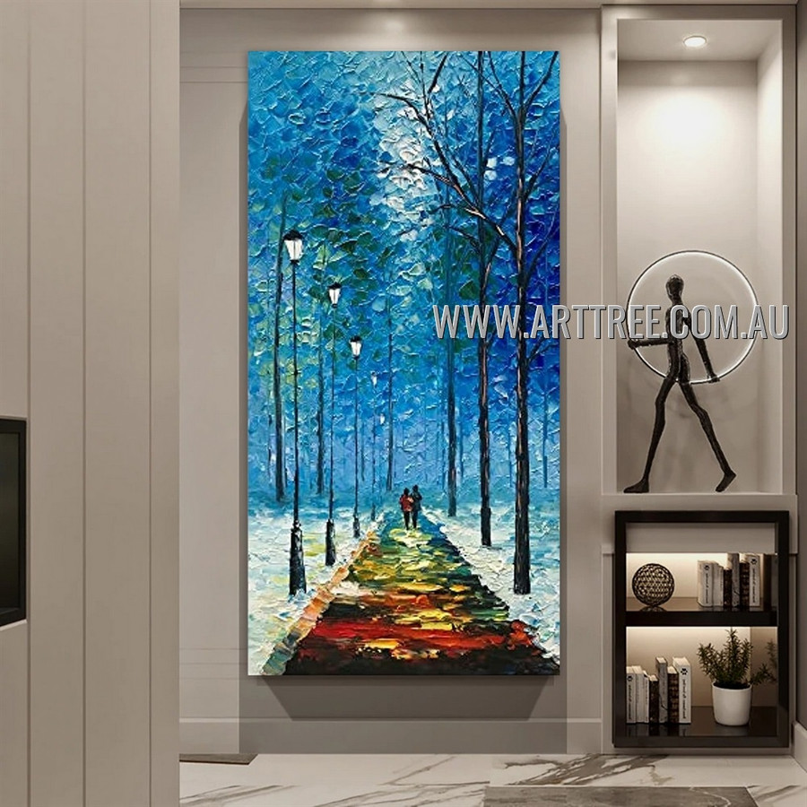 Colored Path Botanical Abstract Heavy Texture Artist Handmade Modern Wall Art Painting for Room Getup