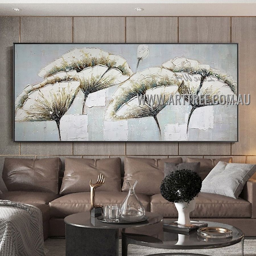 White Poppies Abstract Floral Heavy Texture Artist Handmade Contemporary Art Painting for Room Adornment