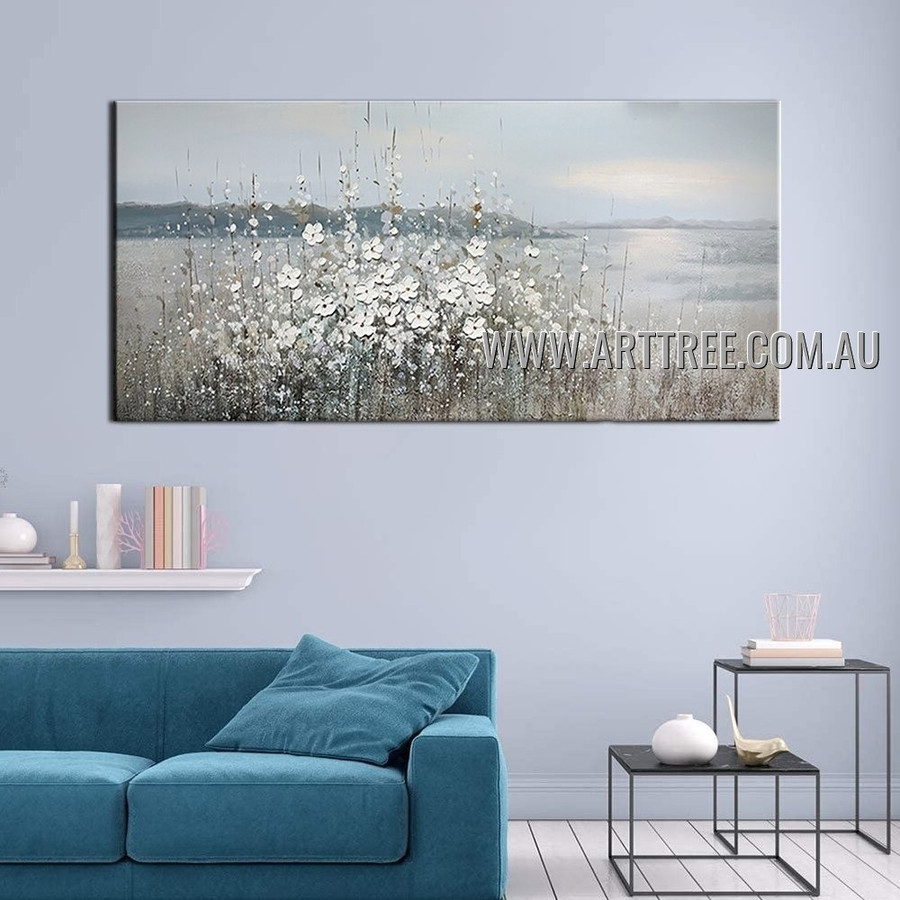 White Flower Plants Abstract Floral Heavy Texture Artist Handmade Modern Art Painting for Room Adorn