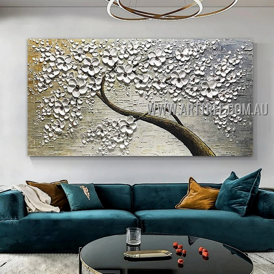 White Blooms Arbor Floral Abstract Heavy Texture Artist Handmade Modern Wall Art Painting