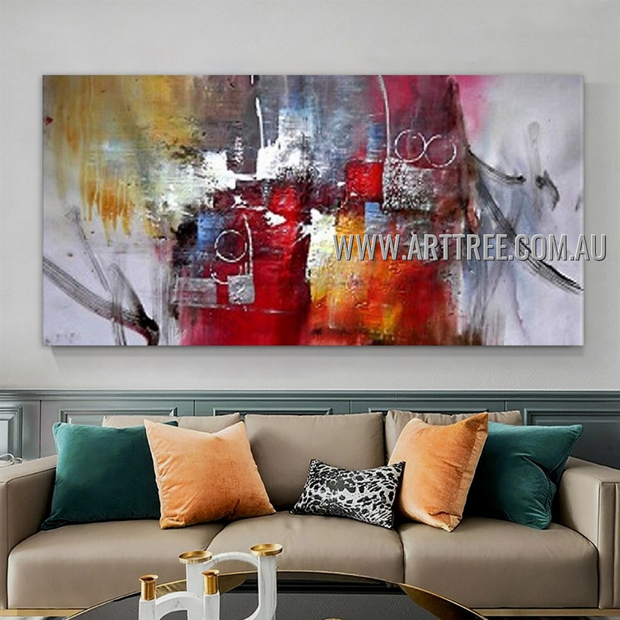 Motley Splodges Abstract Heavy Texture Artist Handmade Modern Wall Art Painting for Room Getup