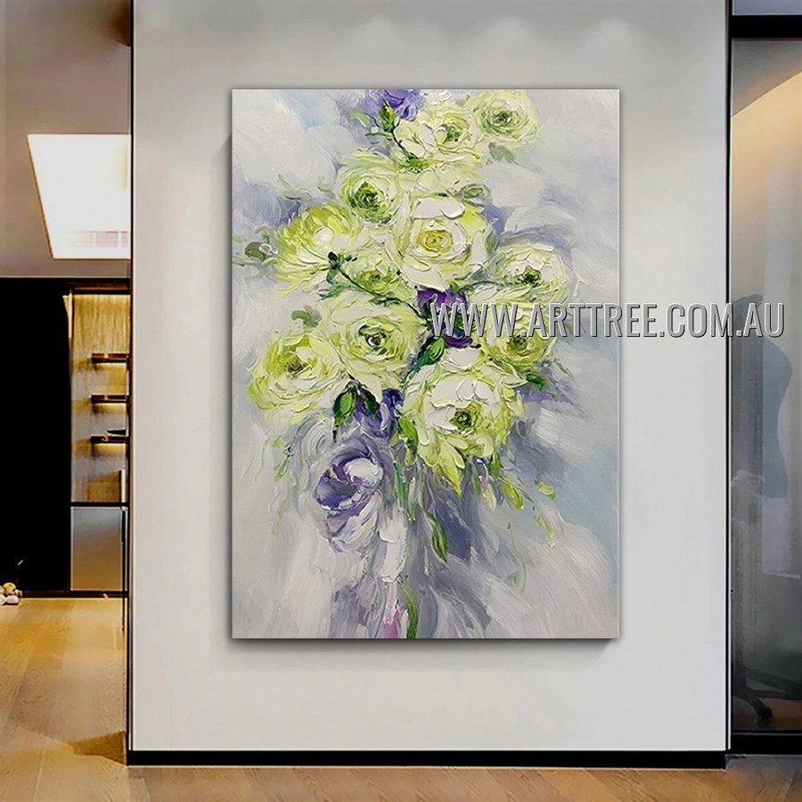 Green Blooms Floral Abstract Heavy Texture Artist Handmade Modern Art Painting for Room Finery