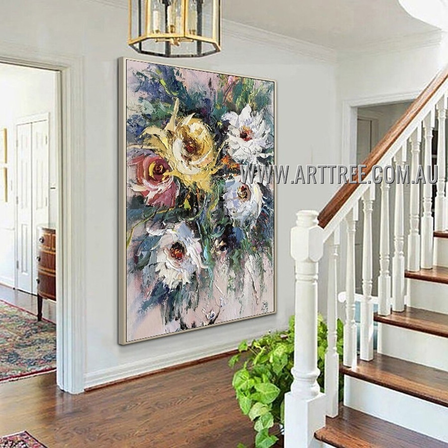 Colorful Flowers Floral Modern Heavy Texture Artist Handmade Abstract Art Painting for Room Drape