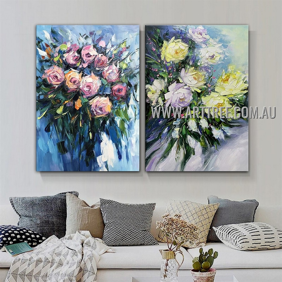 Varicolored Flowers Floral Abstract Modern Heavy Texture Artist Handmade 2 Piece Multi Panel Wall Art Canvas Painting for Room Decoration
