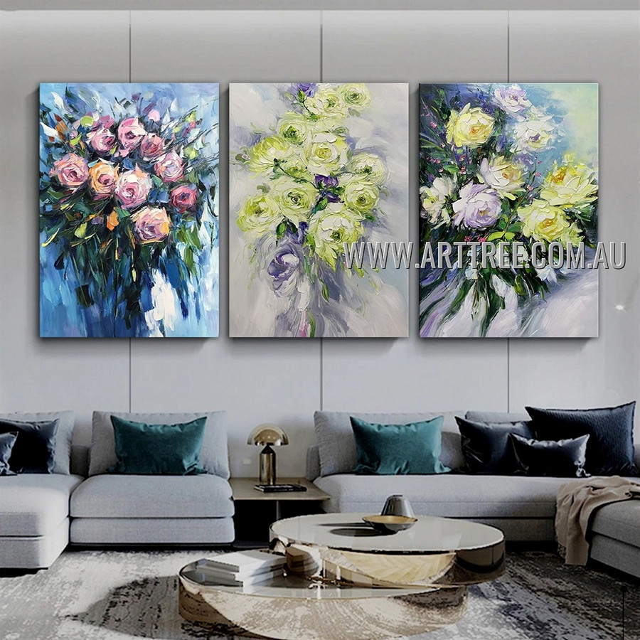 Colored Floweret Floral Modern Abstract Artist Handmade Heavy Texture 3 Piece Multi Panel Painting Wall Art Set for Room Garniture
