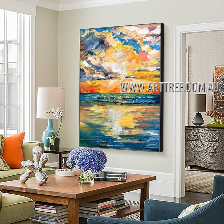 Multicolor Sky Abstract Seascape Heavy Texture Artist Handmade Modern Wall Art Painting for Room Adornment