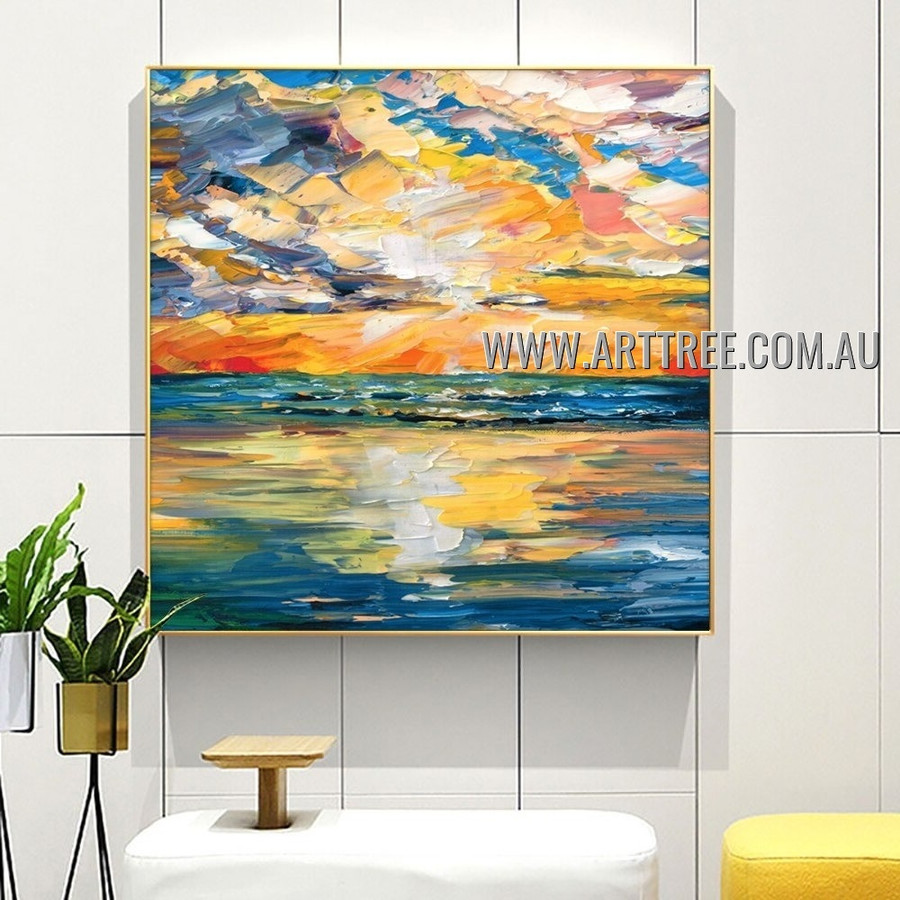 Colorful Welkin Abstract Seascape Heavy Texture Artist Handmade Modern Wall Art Painting for Room Garniture