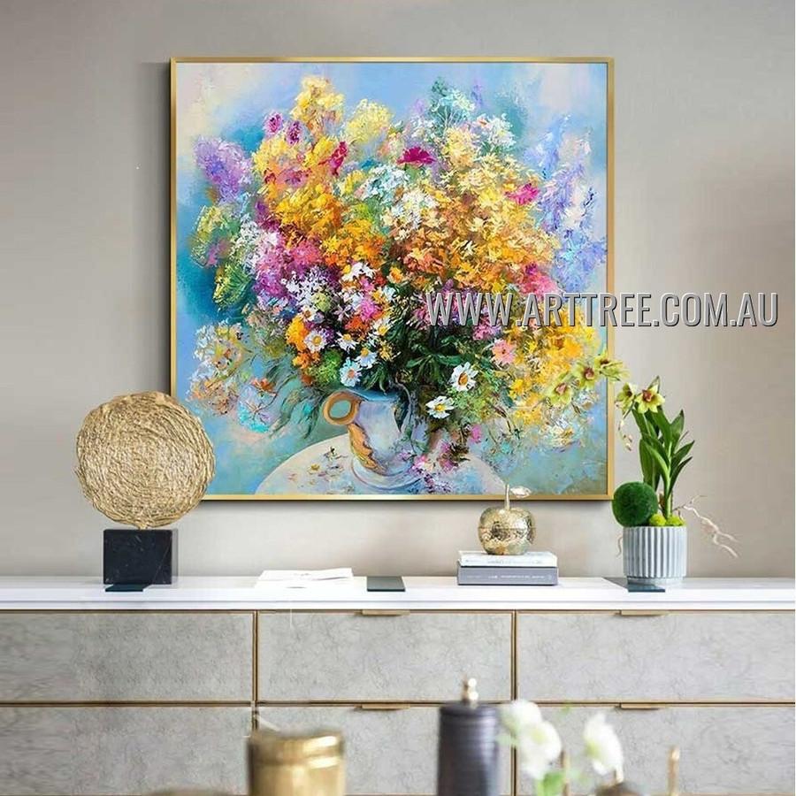 Multicolored Flowerpot Floral Artist Handmade Heavy Texture Modern Art Painting for Room Flourish
