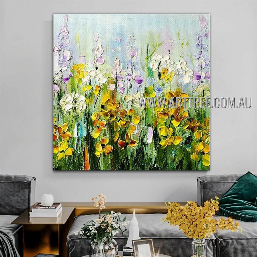 Colorific Flower Plants Modern Artist Handmade Heavy Texture Floral Art Painting for Room Adorn