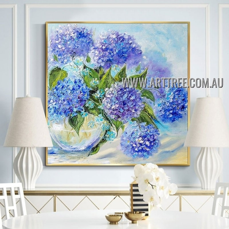 Blue Big Flowers Floral Artist Handmade Heavy Texture Floral Art Painting for Room Ornament