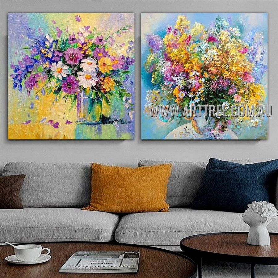 Particolored Flowerpot Floral Contemporary Artist Handmade Heavy Texture 2 Piece Multi Panel Canvas Painting Wall Art Set for Room Garnish