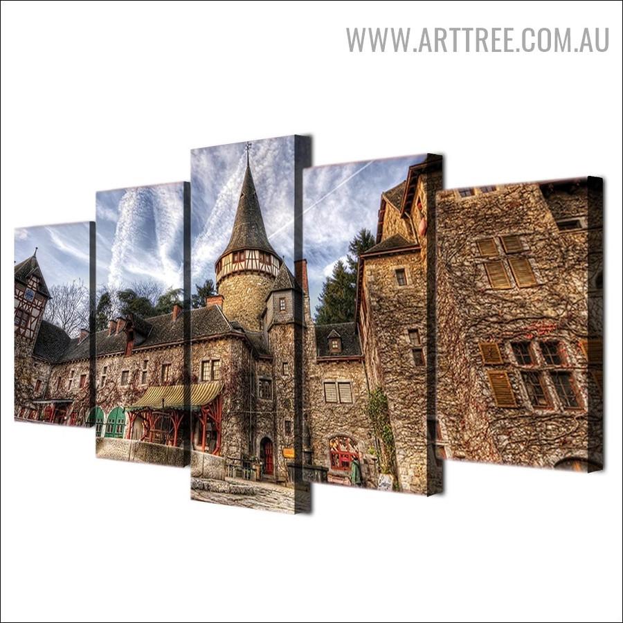 European Castle sky Landscape Modern 5 Piece Split Art Image Canvas Print for Room Wall Outfit