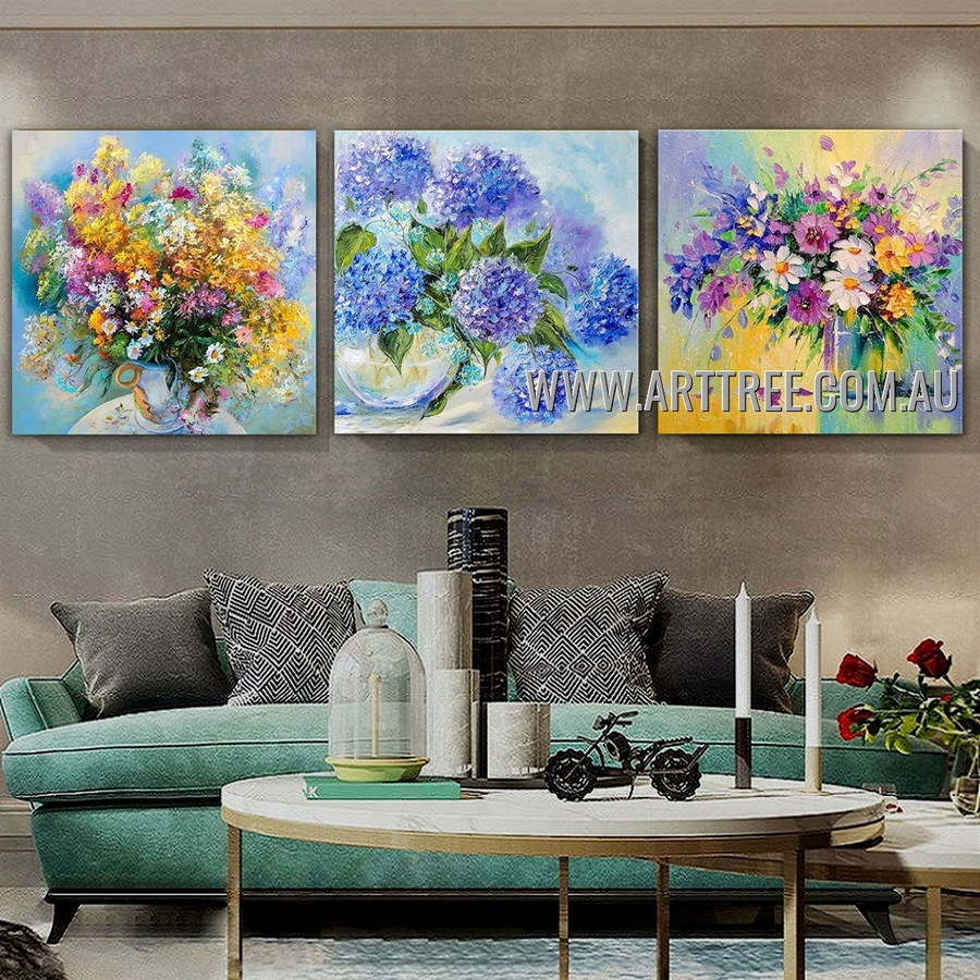 Colorific Floweret Floral Modern Heavy Texture Artist Handmade 3 Piece Multi Panel Canvas Painting Wall Art Set For Room Ornament