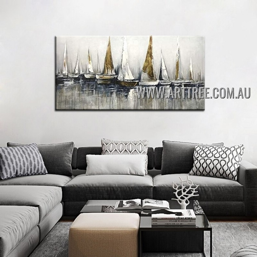 Sailing Ships Abstract Seascape Heavy Texture Artist Handmade Modern Art Painting for Room Drape