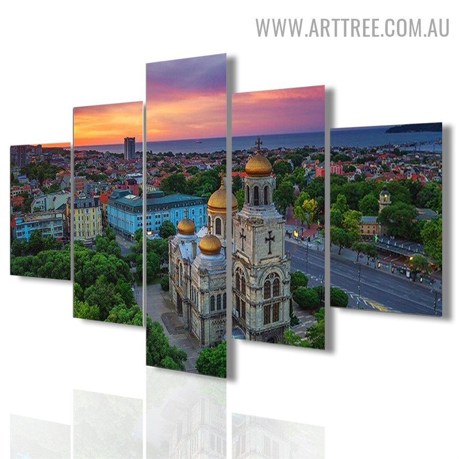 Church Building Trees Modern 5 Piece Split Floral Landscape Art Image Canvas Print for Room Wall Trimming