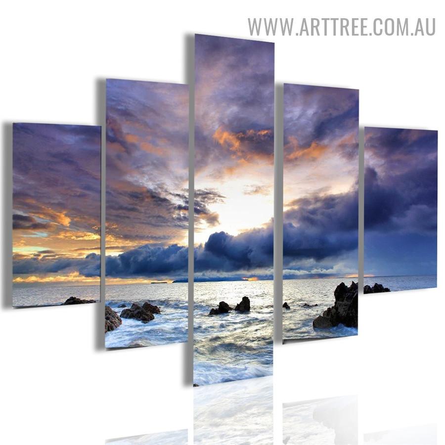Dark Clouds Seaside Water Seascape Landscape Modern 5 Piece Split Canvas Art Image Canvas Print for Room Equipment